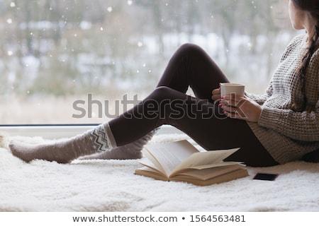 красивой · женщину · глядя · окна · портрет - Сток-фото © tekso