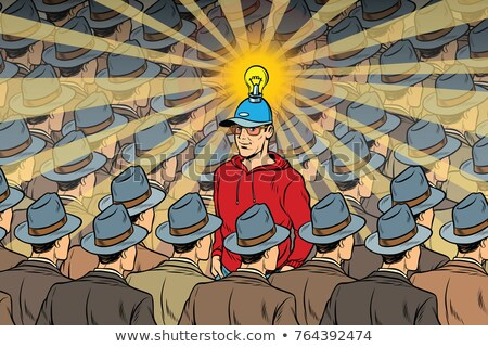 idea man in dull crowd Stock photo © studiostoks