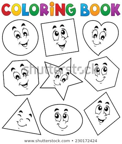 Kleurboek meetkundig vorm vierkante half gekleurd Stockfoto © Olena