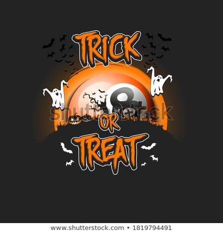 Happy Halloween vector illustration with bats, pumpkins and moon on dark  cemetery background. Holid Stock photo © articular