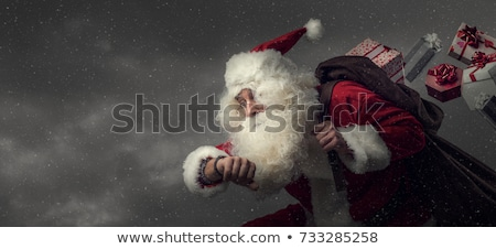 Mikulás hordoz ajándék zsák portré férfi Stock fotó © wavebreak_media