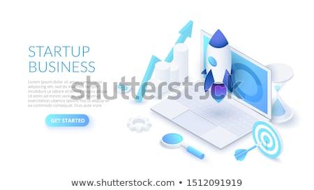 Leszállás oldal laptop célzás 3D képernyő Stock fotó © tashatuvango