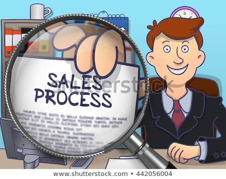 Stock fotó: Eladó · terv · nagyító · firka · üzletember · papír