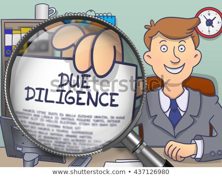 Due Diligence through Magnifying Glass. Doodle Style. Stock photo © tashatuvango