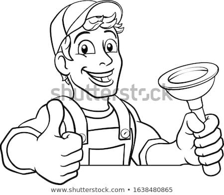 Cartoon Black Plumber Handyman Holding Punger Stock photo © Krisdog