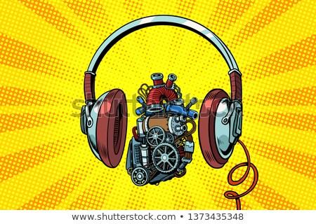 Hoofdtelefoon steampunk hart motor pop art retro Stockfoto © studiostoks