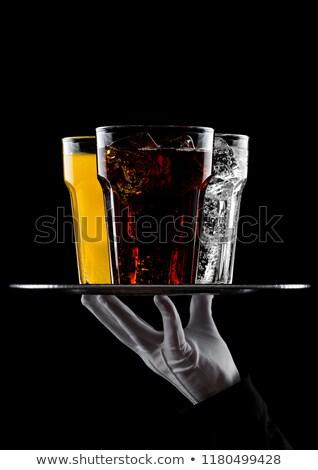 Foto stock: Mano · bandeja · vidrio · cola · naranja · agua
