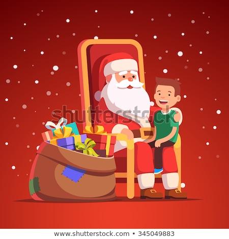 Kerstman vergadering geïsoleerd sjabloon christmas nieuwjaar Stockfoto © popaukropa