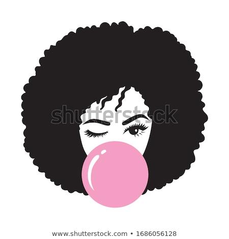 Lány buborék íny illusztráció labda fiatal Stock fotó © adrenalina