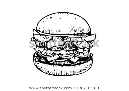 Burger наклейку изолированный графического дизайна элемент меню Сток-фото © ikopylov