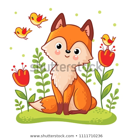 Isolated red cartoon fox cub on white background. Orange happy frendly fox lie on glade and dream. W stock photo © olkita