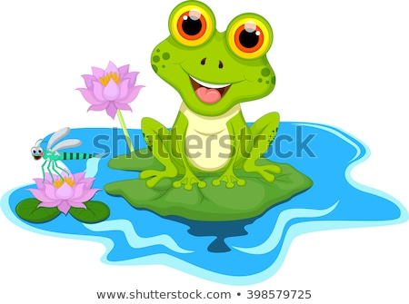 Smiling Princess Frog Cartoon Mascot Character With Crown And Arrow Holding A Love Heart stock photo © hittoon