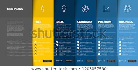 termék · szolgáltatás · ár · összehasonlítás · asztal · kártyák - stock fotó © blumer1979