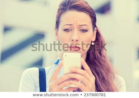 Foto stock: Teléfono · mujer · aislado · enojado · mujer