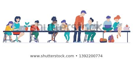 Type schoolmeisje werk ingesteld bureau Stockfoto © toyotoyo