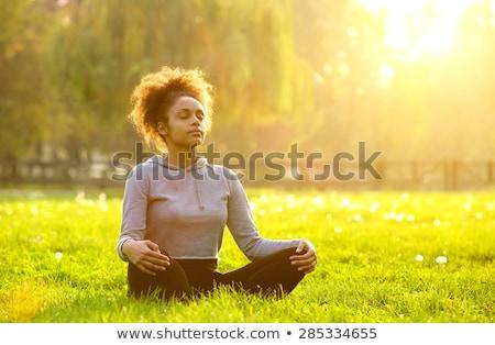 若い女の子 · 瞑想 · 日没 · 肖像 · 小さな · 十代の少女 - ストックフォト © dashapetrenko