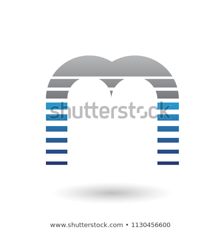 Black and Blue Letter M Icon with Horizontal Stripes Vector Illu Stock photo © cidepix