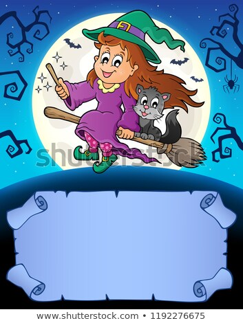 Stock photo: Small parchment and cute witch 3