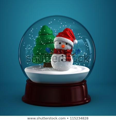 christmas · Święty · mikołaj · szkła · piłka · śniegu · snowman - zdjęcia stock © heliburcka