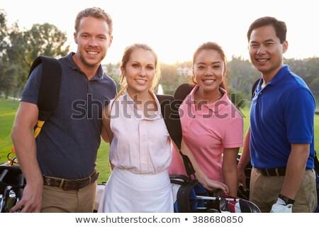 Retrato femenino golfista bolsa de golf feliz Foto stock © Kzenon