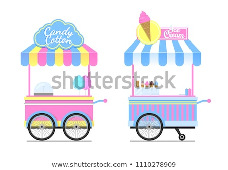candy cotton and ice cream wagons vector pattern stock photo © robuart