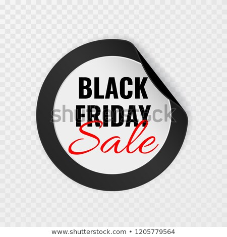 Stock photo: Black Friday sale black round sticker with curled corners on transparent background, vector illustra