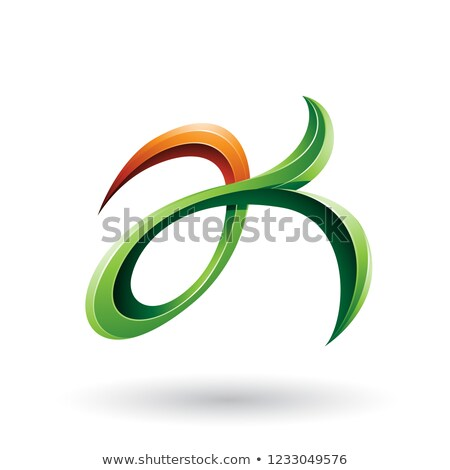 Green and Orange Curly Fish Tail Like Letters A and K Vector Ill Stock photo © cidepix