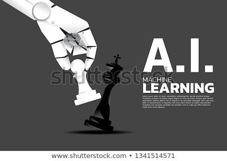 Robot hand schaken schaakmat witte humanoid Stockfoto © limbi007