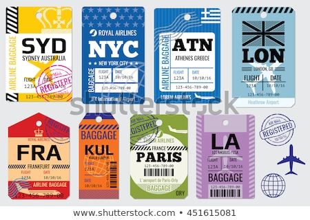 luggage traveling bags with stickers set vector stock photo © robuart