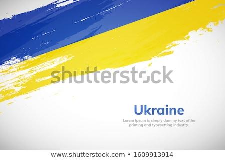 Grunge estilo Ucrânia bandeira parede de tijolos edifício Foto stock © ruslanshramko