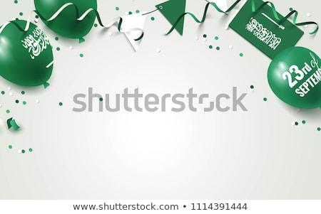 Mutlu gün Suudi Arabistan kutlama afiş bayrak Stok fotoğraf © MarySan