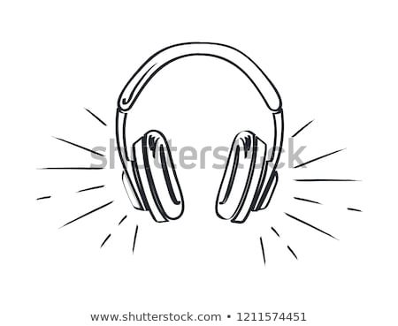 headphones music listening monochrome sketch icon stock photo © robuart