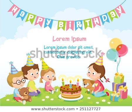 verjaardag · puppy · cute · ballonnen · partij · hoed - stockfoto © lenm