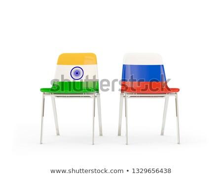 Kettő székek zászlók India Oroszország izolált Stock fotó © MikhailMishchenko