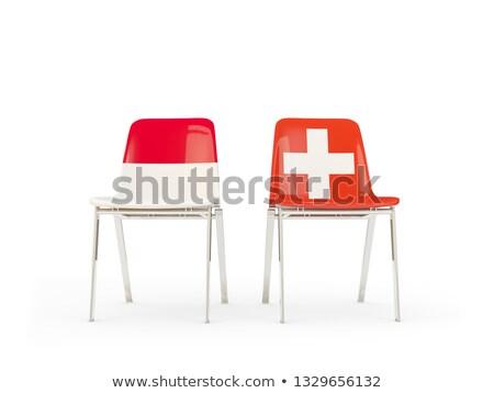 два стульев флагами Индонезия Швейцария изолированный Сток-фото © MikhailMishchenko