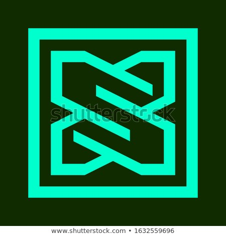 Green Blue and Black Square Shaped Letter X Vector Illustration Stock photo © cidepix