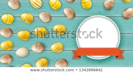 Noble Golden Easter Eggs Heap Wooden Turquoise Header Stock photo © limbi007