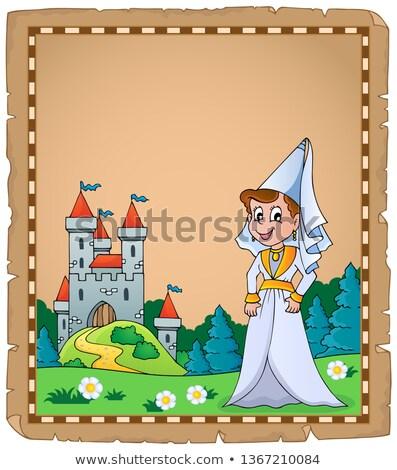 Mittelalterlichen Dame Pergament Papier Frühling glücklich Stock foto © clairev