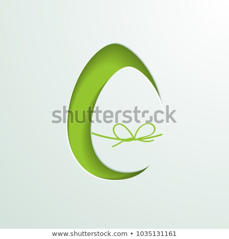 Happy Easter Illustration with Colorful Painted Egg in Cutout Letter on Blue Background. Internation Stock photo © articular