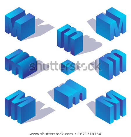 Blue gradient Letter M 3D Stock photo © djmilic