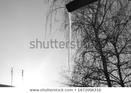 icicles hanging from building roof and drainpipe Stock photo © dolgachov