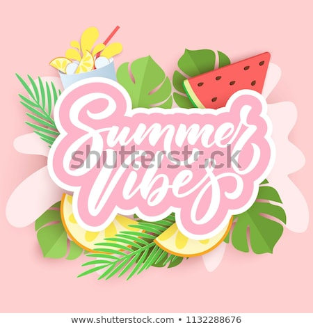 vector summer vibes illustration with palm leaves and typography letter on blue ocean landscape back stock photo © articular