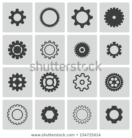 Collection of gearwheel mechanism icon set. Vector illustration isolated on white. Stock photo © kyryloff