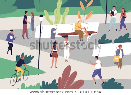 man jogging in green city park vector character stock photo © robuart