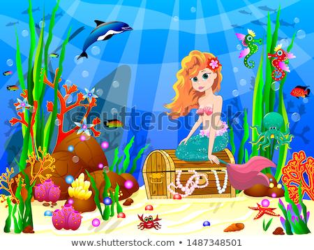 Cute blijde weinig zeemeermin onderwater wereld Stockfoto © liolle
