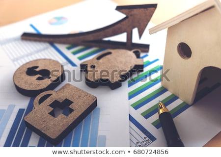 Pénzügyi bankügylet stock táblázat ház boglya Stock fotó © Freedomz