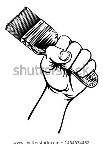Pintor mão punho pincel desenho animado Foto stock © Krisdog