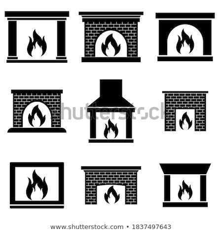 Brick Fireplace, Wooden Logs, Bright Burning Fire Stock photo © robuart