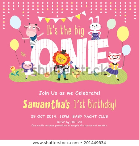 Children 1st birthday greeting card vector template Stock photo © Decorwithme