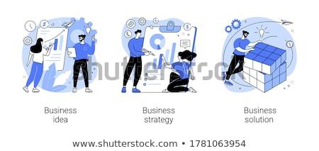 stratejik · iş · simgeler · plan · karalama - stok fotoğraf © rastudio